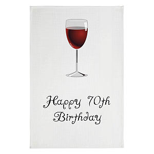 Happy 70th Wine Glass Tea Towel