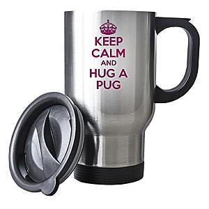 Hug A Pug Silver Travel Mug