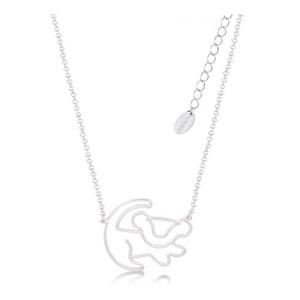 Lion King White Gold-Plated Simba Outline Necklace