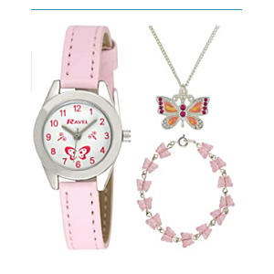 Little Gems' Watch and Silver Plated Jewellery Set