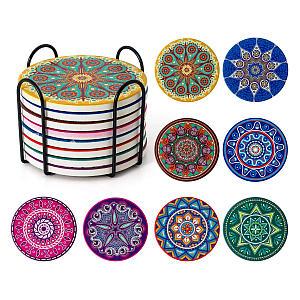 Mandala Ceramic Coasters Set