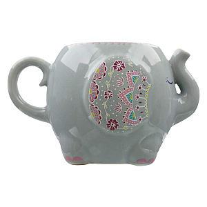 Mandala Elephant Grey Mug