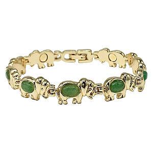 Natural Agate Crystals Green Elephant Bracelet
