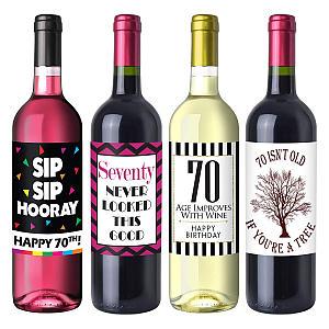 Novelty 70th Birthday Wine Label Pack