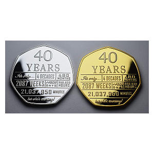 Pair of 40th Birthday Commemorative Coins