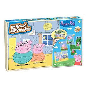 Peppa Pig Set of 5 Wooden Jigsaw Puzzles