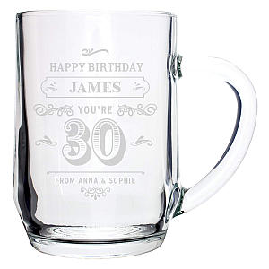 Personalised 30th Beer Glass