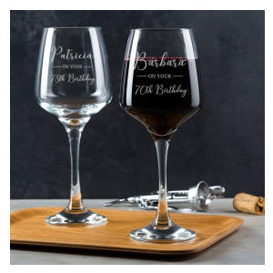 Personalised 70th Birthday Wine Glass