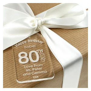Personalised 80th Acrylic Gift Tag