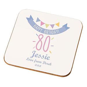Personalised 80th Birthday Coaster