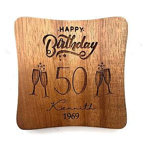 Personalised Happy Birthday Wood Coaster