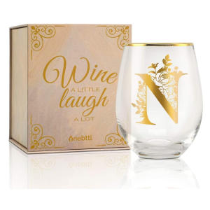 Personalised Initial Stemless Wine Glass