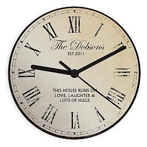 Personalised New Home Rustic Clock