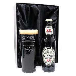 Personalised Pint Glass & Guinness