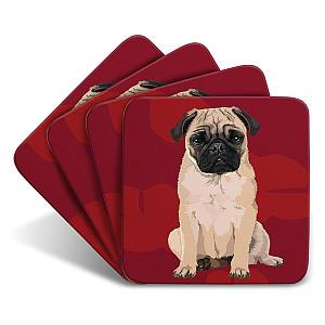 Pug Set of 4 Coasters