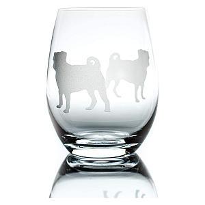 Pug Stemless Wine Glass