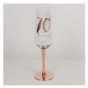 Rose Gold Stem 70th Champagne Flute