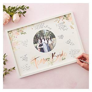 Rose Gold Team Bride Guest Book Frame