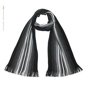 Smart Black And Grey Striped Scarf