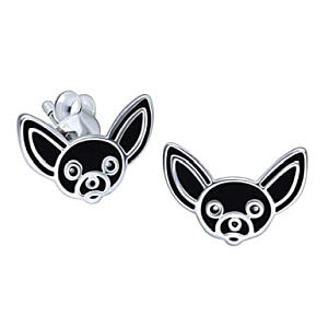 Sterling Silver Chihuahua Dog Earrings