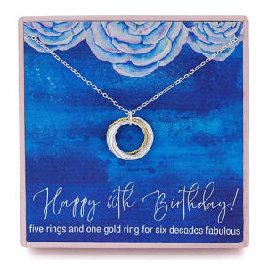 Sterling Silver Six Circle Rings Pendant Necklace