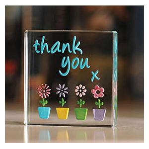 Thank You Flower Pots Glass Mini Token