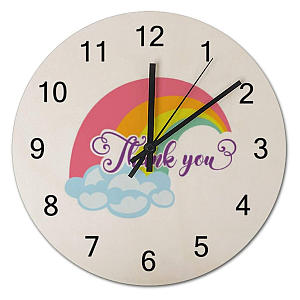 Thank You Round Wooden Clock