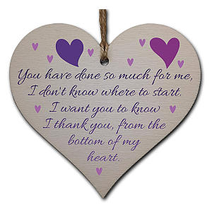 Thank You Wooden Hanging Heart