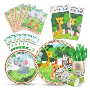 Zoo Animals Party Tableware Set