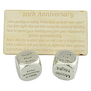 10th Wedding Anniversary Date Night Dice