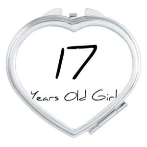17 Years Old Girl Heart Compact Mirror
