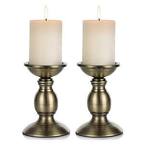 2 Bronze Pillar Candle Stands