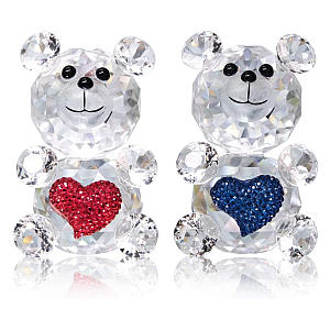 2 Piece Crystal Glass Bear Ornaments