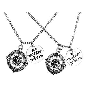 2 Piece No Matter Where Charm Pendant Necklace