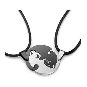 2 Piece Yin Yang Cat Necklace