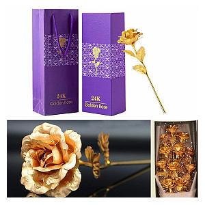24K Gold Rose Flower
