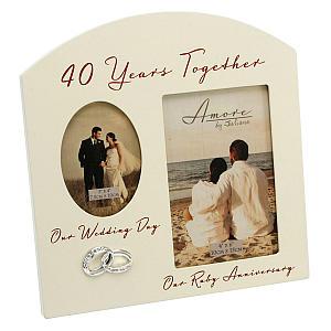 40th Anniversary Cream Photo Frame