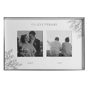 40th Wedding Anniversary Silver Dual Photo Frame