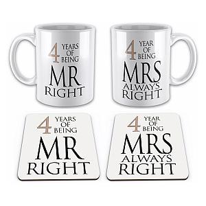 4th Anniversary Mug and Coaster Set