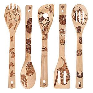 5 Piece Wooden Cooking Utensils Set