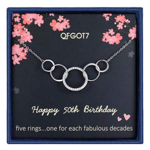 50 Sterling Silver Five Circle Necklace