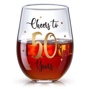 50 Years Cheers Stemless Wine Glass
