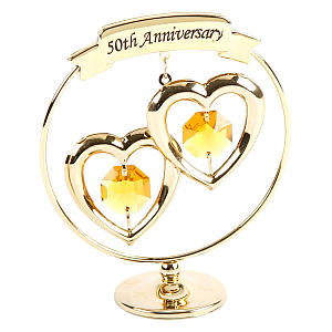 50th Anniversary Gold Ring with Hearts