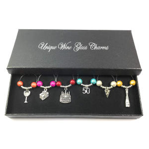 50th Birthday Wine Glass Charms