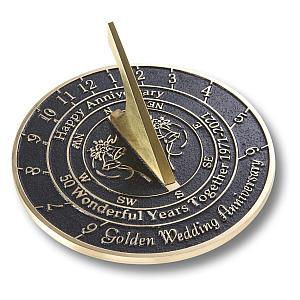 50th Golden Wedding Anniversary Sundial Gift