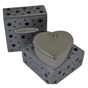 50th Silver Elegant Engraved Heart Jewellery Box