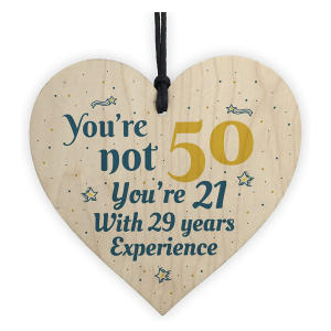 50th Wooden Heart Hanging Sign
