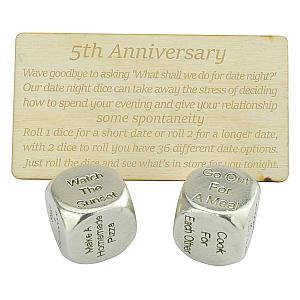 5th Year Anniversary Date Dice