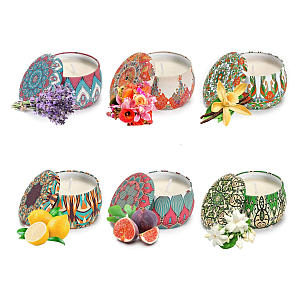 6 Portable Scented Tinned Candles
