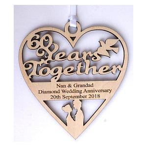 60 Years Personalised Wooden Heart